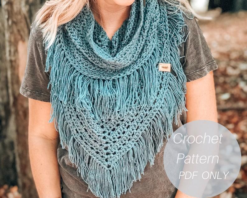Boho Infinity Scarf / Crochet Scarf Pattern /  Scarf Pattern / image 0