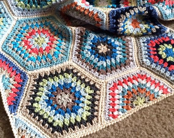 HEXAGON CROCHET BLANKET/crochet pattern/hexagon pattern/easy crochet afghan/crochet hexagon blanket/baby blanket/rustic modern crochet