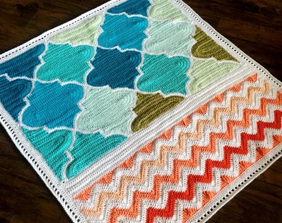 CROCHET BABY BLANKET/crochet blanket pattern/popular crochet pattern/baby blanket pattern/easy crochet/housewarming gift/trellis chevron