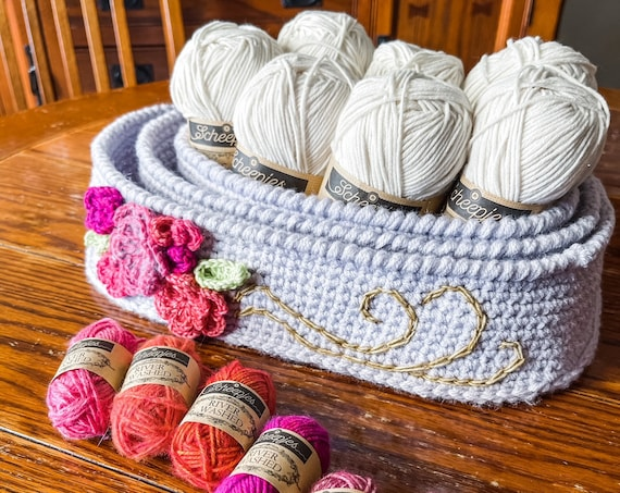 CROCHET NESTING BASKETS patterns/crochet baskets/wedding gift/housewarming/crochet decor/easy crochet pattern