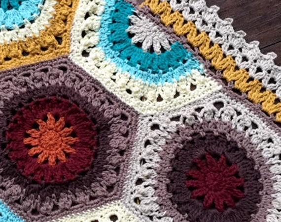 SOUTHWESTERN CROCHET PATTERN/baby blanket pattern/easy crochet pattern/crochet afghan/hexagon modern crochet/motif circle unique rustic zen