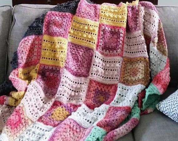 EASY CROCHET PATTERN crochet blanket/granny square/crochet afghan/crochet blanket baby/crochet blanket pattern/baby blanket pattern