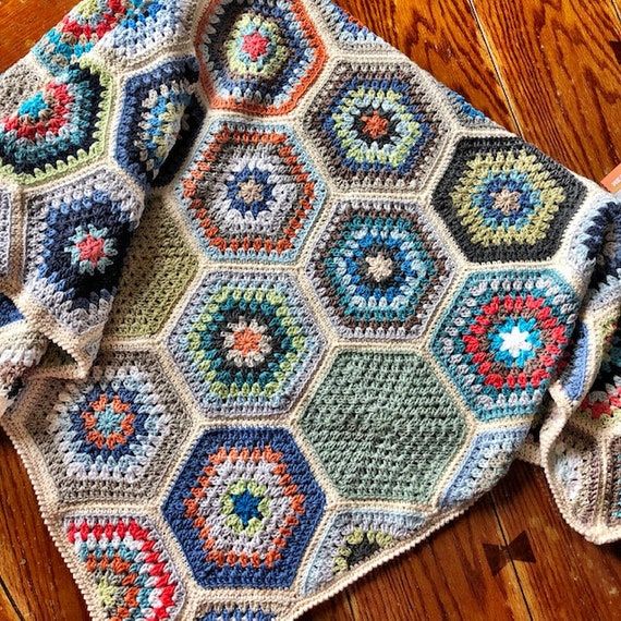 HEXAGON CROCHET BLANKET/crochet pattern/hexagon pattern/easy crochet afghan/crochet hexagon blanket/baby blanket/rustic modern crochet