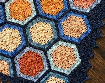 Crochet blanket Pattern tutorial/CypressTextiles/babyLove Brand/Autumn Blues Blanket/ Pattern/lacy hexagon flat braid join traditional motif