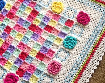 CROCHET ROSE PATTERN/crochet blanket pattern/Baby blanket pattern/Crochet pattern/popular crochet/Square Shabby chic Cottage traditional