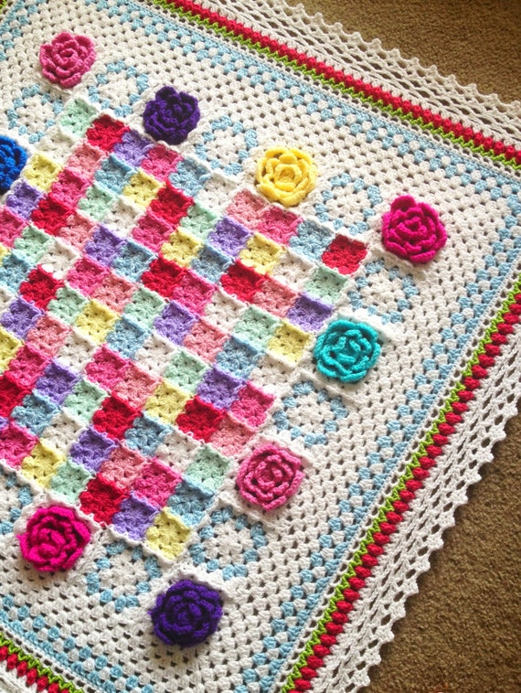 CROCHET ROSE PATTERN/crochet blanket pattern/Baby blanket pattern/Crochet pattern/popular crochet/Square Shabby chic Cottage traditional
