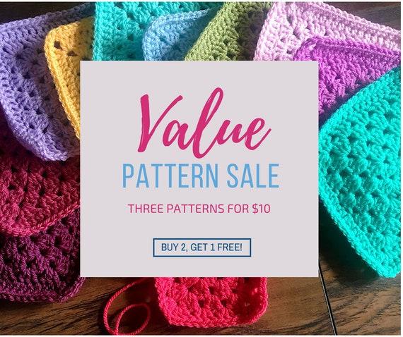 3 Crochet Patterns For 10usd Dealpattern Salecrochet Blanket Etsy