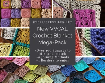 CROCHET PATTERN BUNDLE - 5 PDFs with over 100 squares designed to mix and match, 9 joining methods, and 3 lacy borders