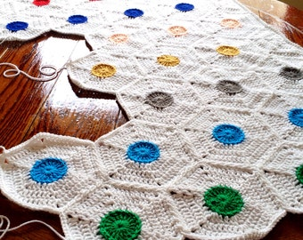 Crochet blanket Pattern/popular crochet/baby blanket/BabyLove Brand/Polka Dot/Hexagon Motif unique modern minimalist easy fun chic throw