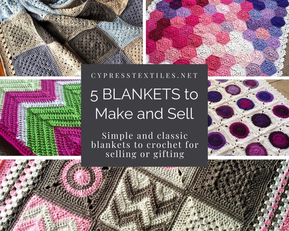 CROCHET PATTERN BUNDLE - 5 PDFs of my most popular crochet blanket patterns people buy to make products for handmade shop/baby shower gift