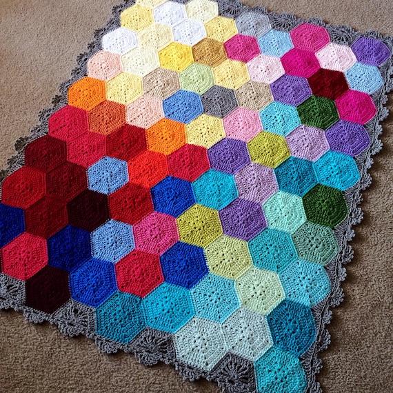 GEOMETRIC CROCHET PATTERN/popular crochet/baby blanket pattern/hexagon crochet pattern/hexagon motif/easy crochet pattern/crochet afghan