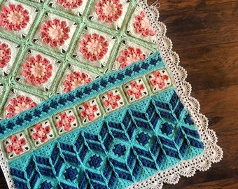 BABY BLANKET PATTERN/crochet baby blanket/crochet pattern/easy crochet pattern/crochet flower/baby blanket pattern/best popular crochet gift