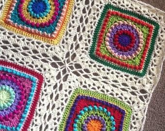 CELTIC LACE JOIN patterns/crochet blanket joining method/crochet blanket/join granny squares/easy crochet pattern/3 joins in one