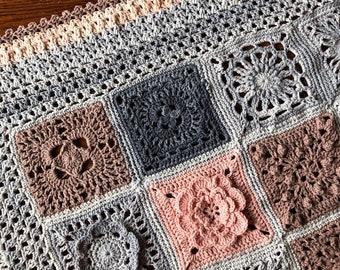 CROCHET BLANKET patterns/crochet baby blanket/wedding gift/crochet blanket/crochet granny square/easy crochet pattern/easy blanket pattern