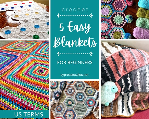 CROCHET PATTERN BUNDLE - 5 PDFs with easy to crochet blankets perfect for crochet beginners
