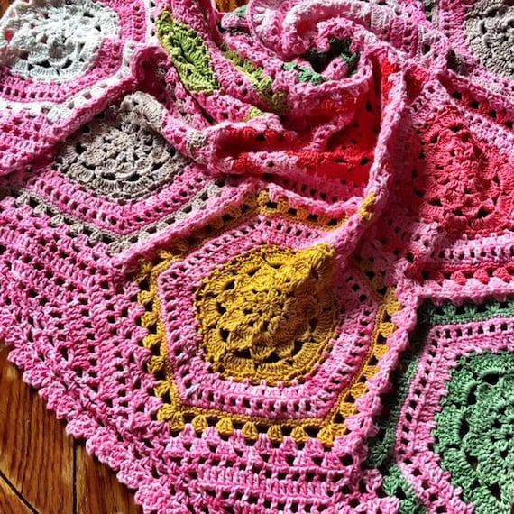 HEXAGON MOTIF BLANKET crochet pattern/striped blanket/crochet afghan/crochet blanket baby gift/crochet blanket pattern/baby blanket pattern