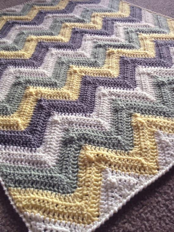 CHEVRON CROCHET BLANKET pattern/ripple blanket/ripple crochet blanket/crochet pattern blanket/Solid Chevron Blanket modern traditional gift