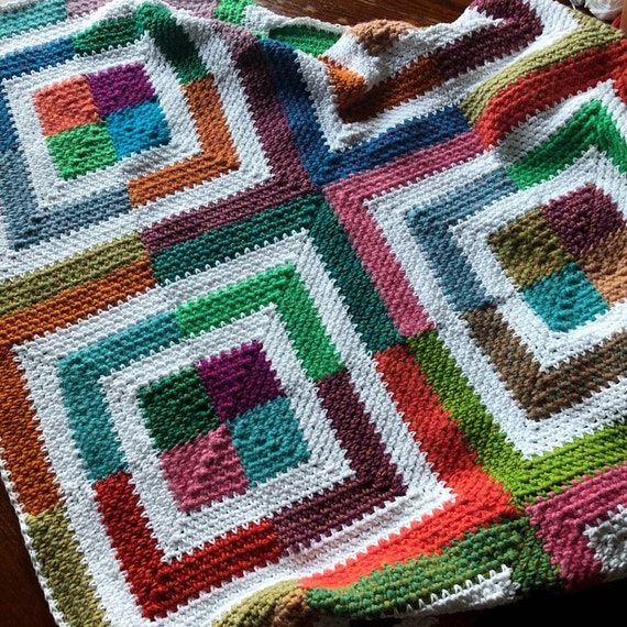 LISSMISS BLANKET/crochet blanket afghan pattern/popular crochet pattern/Linen Stitch Mitered Square/linen stitch/easy baby blanket