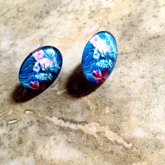 Resin earring plastic colorful piece long post barrel back hypoallergenic 1 pair - more options