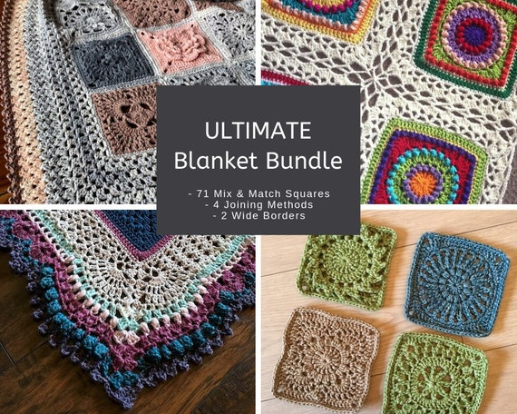 CROCHET PATTERN BUNDLE - 4 PDFs with 71 squares, 4 joining methods, and 2 nice and wide borders - All squares are designed to mix and match