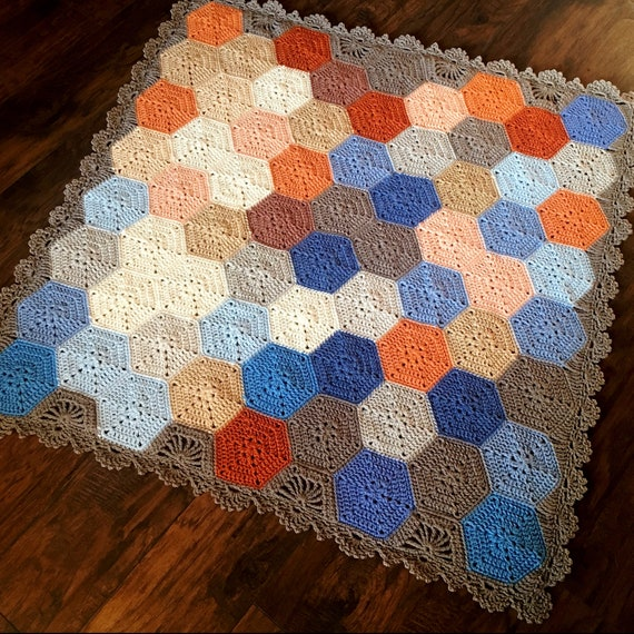GEOMETRIC CROCHET PATTERN/popular crochet/baby blanket pattern/hexagon crochet pattern/hexagon motif/easy crochet pattern/crochet afghan