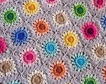 handmade baby gift/baby blanket/BabyLove Brand Sunburst Flower Floral Blanket 36x36 inches, great color for toddler/baby shower lapghan
