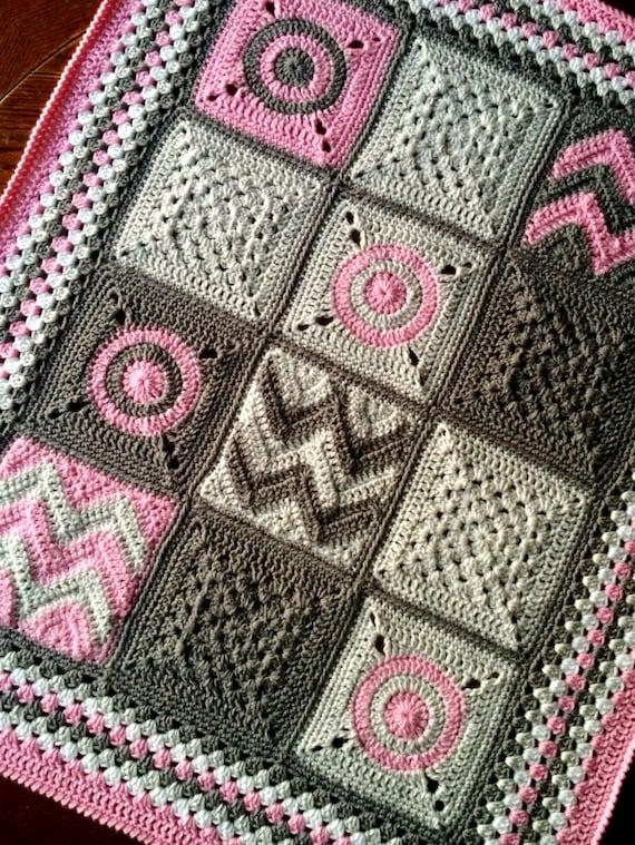 MODERN PATCHWORK CROCHET blanket pattern/crochet baby blanket/easy crochet pattern/Modern Patchwork Blanket/baby blanket/baby shower gift