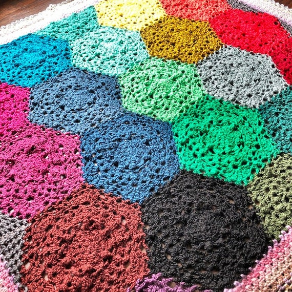 LACY HEXAGON MOTIF blanket crochet pattern/crochet afghan/crochet blanket home decor gift/crochet blanket pattern/double bed blanket pattern
