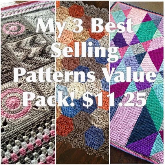 3 BEST SELLING crochet blanket patterns/CypressTextiles/discount 10USD - Added value sale - instant download/unique modern tutorial geometri