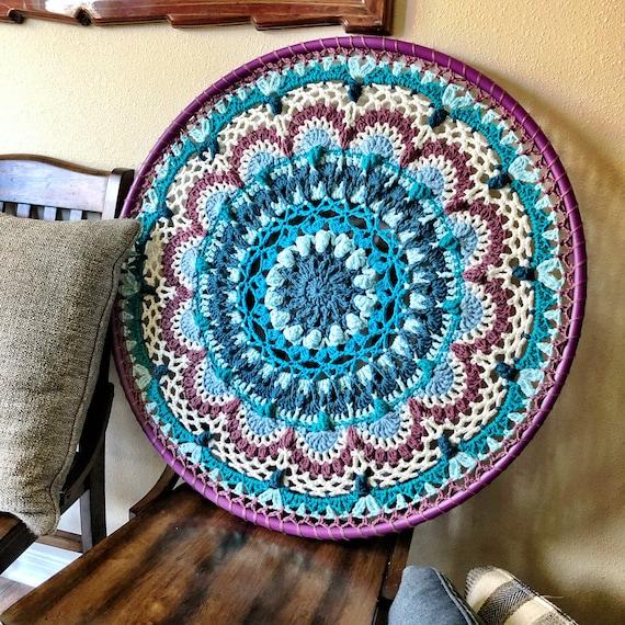CROCHET NAMASTE HULA Hoop Mandala /Crochet wall decor Pattern/mandala hula hoop/crochet rug pattern/crochet pattern/hula hoop crochet