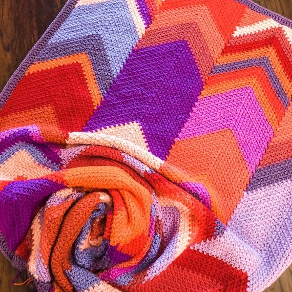 CHEVRONNIE CROCHET BLANKET pattern/crochet baby blanket/easy crochet pattern/Modern Patchwork Blanket/baby blanket/baby shower gift