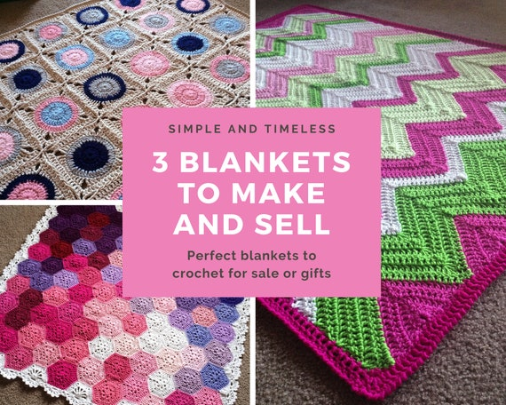 CROCHET PATTERN BUNDLE - 3 PDFs of my most popular crochet blanket patterns people buy to make products for handmade shop/baby shower gift