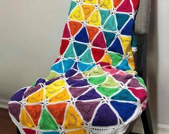 Crochet blanket Pattern/CypressTextiles/Colorburst Blanket/modern traditional motif texture circle unique throw tutorial