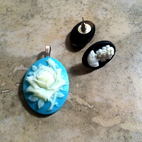 Resin cameo rose earring or pendant plastic colorful piece long post barrel back hypoallergenic 1 pair/piece - more options