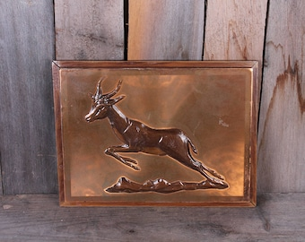 1950's Copper Stamped Impala Springbok Running Scene Trees Woods Wall Decor Framed Dennis Thomson Original