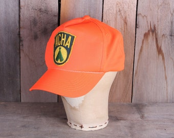 c48bab0da2a3d 1980s Era Hunter Orange Snap Back Adjustable with National Campers and  Hikers Association NCHA Patch