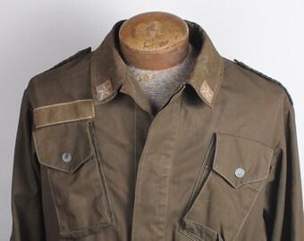 345dcb8d6b Vintage Green Canvas Button Up Men's Military Coat Jacket Stars Details  Size 44R