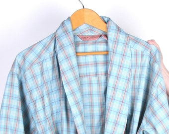 Mens Vintage 90s Red Plaid Cotton Pocket Short House Robe Holiday S M