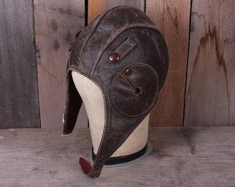 Vintage Leather Eaglet Helmet Brand Flight Helmet