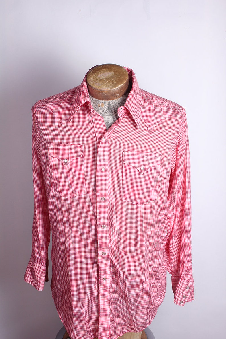 600769f7 1970s Era Red Gingham Mens Button Down Shirt Rockmount Ranch   Etsy