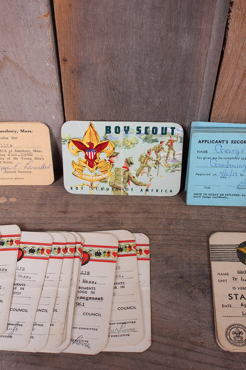 Lot 1950s Boy Scout Membership Cards George Rallis Lone Tree Council  Amesbury MA Massachusetts