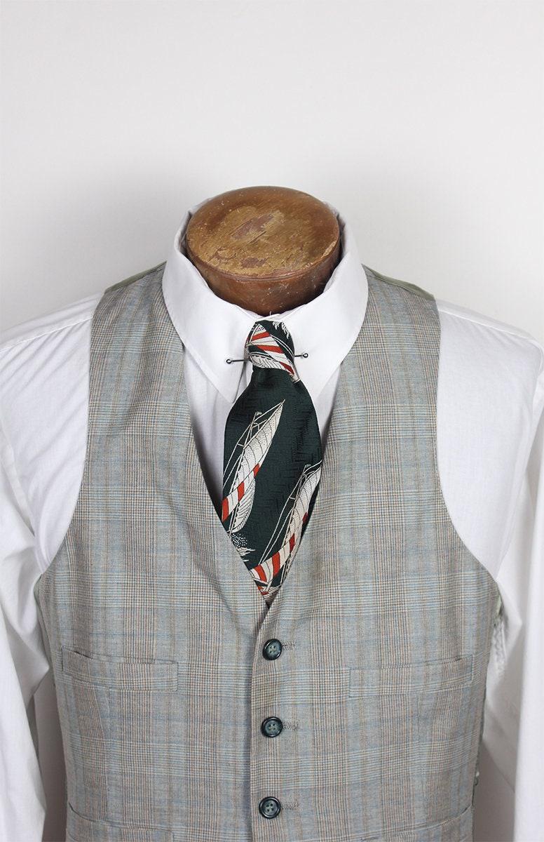 1970s Mens Shirt Styles – Vintage 70s Shirts for Guys Mens Green Orange Gray 1970s Era Plaid Dress Vest With Satin Back 34 Inch Chest $5.00 AT vintagedancer.com