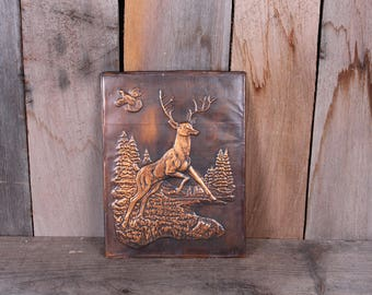 1950's Copper Stamped Deer Woodland Quail Scene Trees Woods Wall Decor Unframed