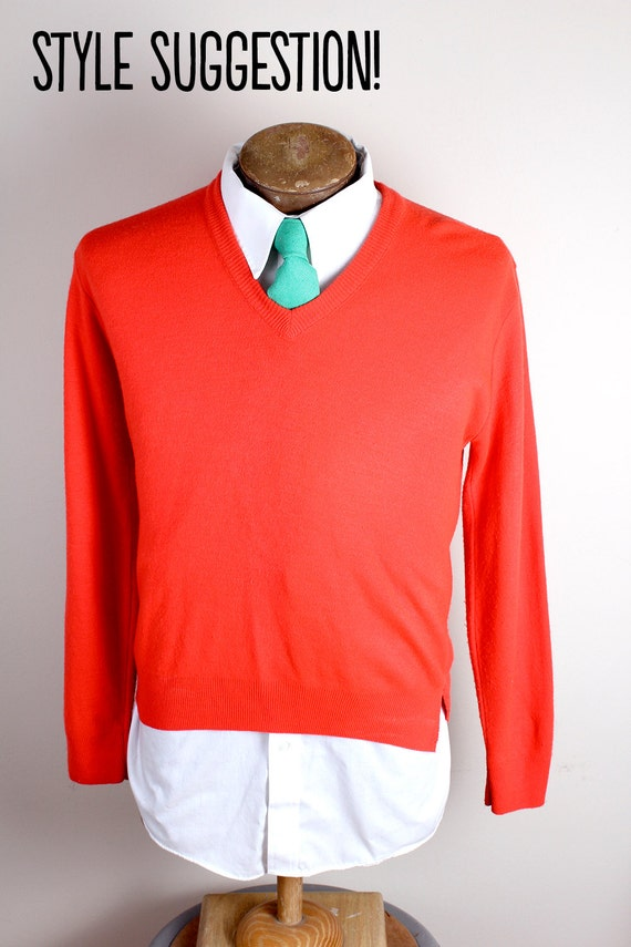 Vintage 1960s Haymaker Brand Bright Orange Mens Sw