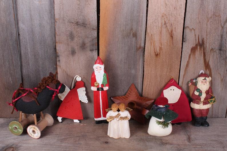 Lot Vintage 1980/'s Primitive Christmas Decorations Ornaments Santas AngelsSNow Man Horse