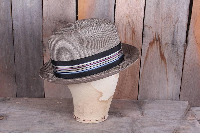 fe30fa3e349 1960s Mens size 7 Gray Straw Summer Fedora Striped Cloth Band   Etsy