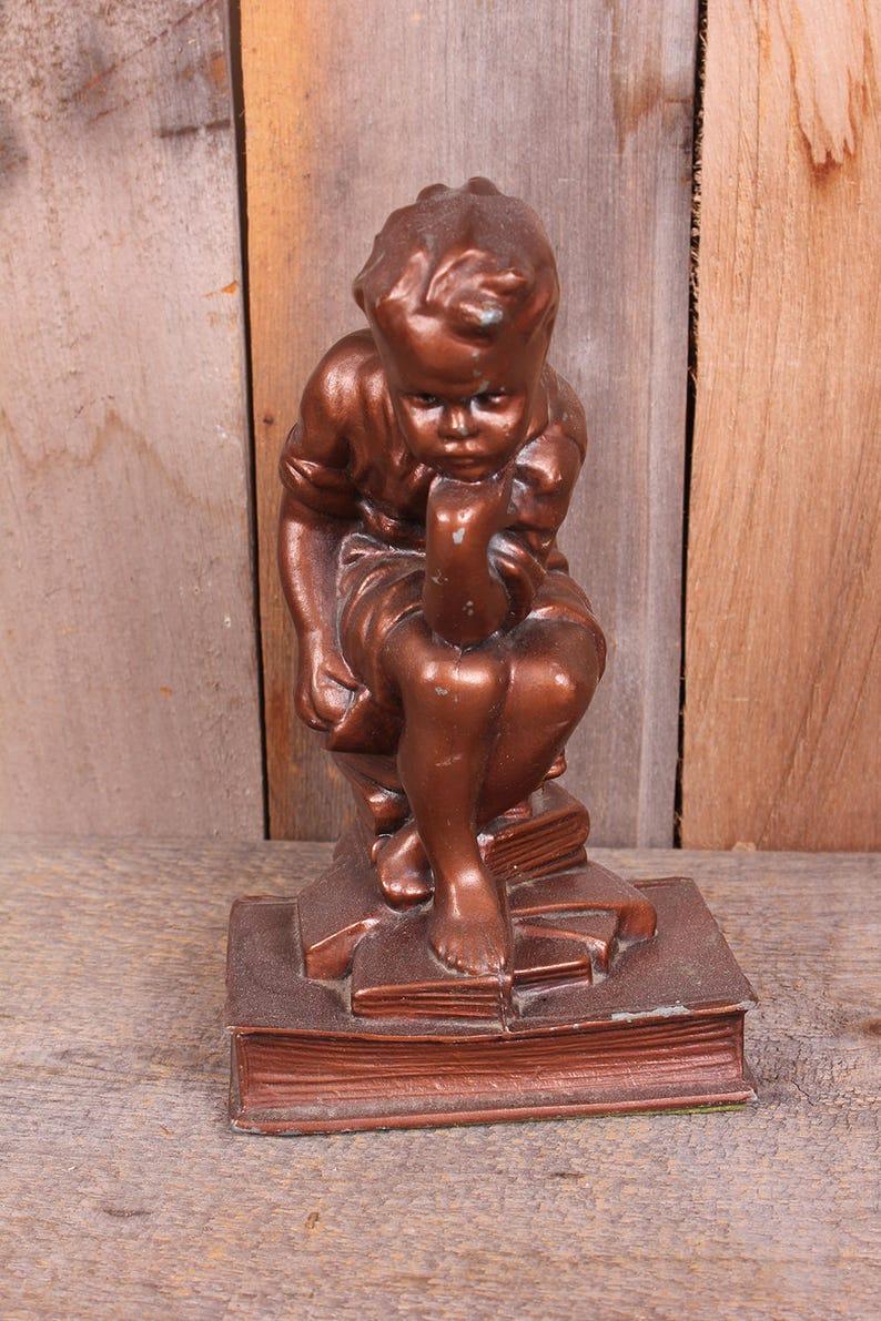 Vintage Thinker Little Boy Metal Bronze Color Metal Bookend