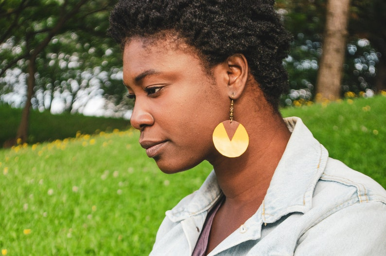 Gold Geometric Leather Earrings
