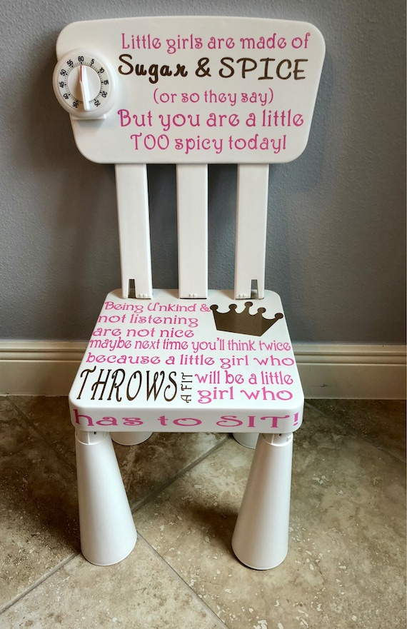 Girls Time Out Chair Glitter Ready To Ship Unkind Etsy