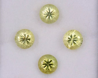 Brilliant Yellow Chrysoberyl Gemstone Set from Sri Lanka, 3.65 tcw., 5.5 mm., Round Brilliant Cuts